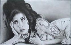 portrait au crayon amy winehouse