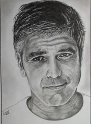 portrait au crayon george clooney