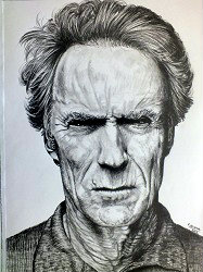 PORTRAIT REALISTE CLINT EASTWOOD