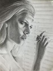 portrait scarlett johansson crayon