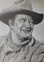 portrait john wayne au crayon